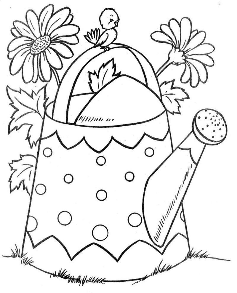watering flowers coloring pages - photo#15