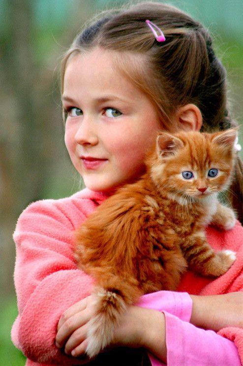 la fille et  son chat
