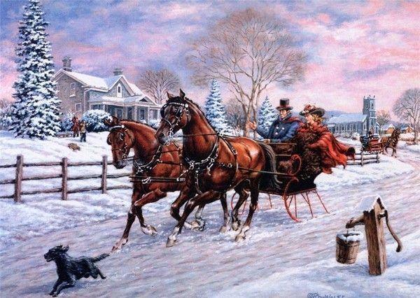 christmas sleigh horses 1920x1080 wallpaper - photo #35