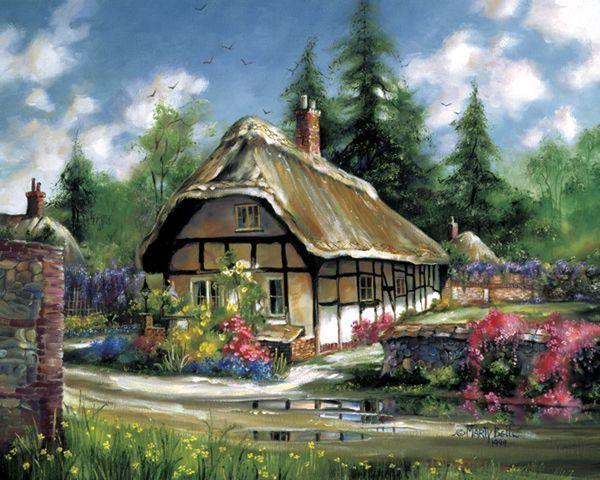 Нарисованные домики обои 1920x1200