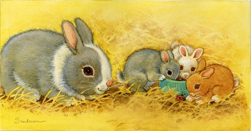 Картинка зайчиха с зайчонком