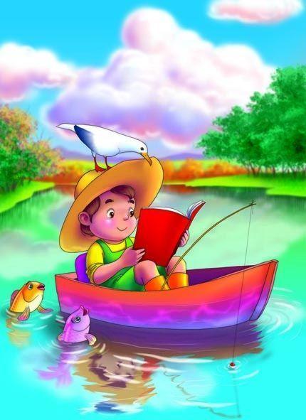 мальчик на лодке рисунок